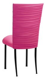 Chloe Fuchsia Stretch Knit Chair Cover and Cushion on Black Legs