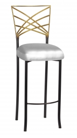 Two Tone Fanfare Barstool with Silver Barstool Boxed Cushion