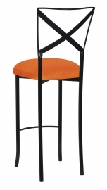 Blak. Barstool with Orange Velvet Cushion
