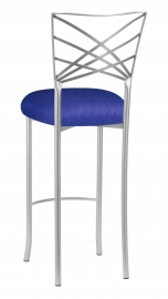 Silver Fanfare Barstool with Royal Blue Knit Cushion