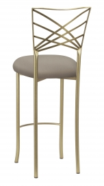Gold Fanfare Barstool with Chino Knit Cushion