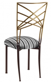 Two Tone Gold Fanfare with Charcoal Stripe Cushion
