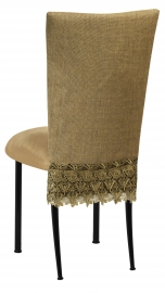 Burlap Flamboyant 3/4 Chair Cover with Camel Suede Cushion on Black Legs
