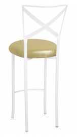 Simply X White Barstool with Metallic Gold Stretch Knit