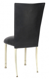 Black Leatherette Chair Cover and Cushion on Ivory Legs