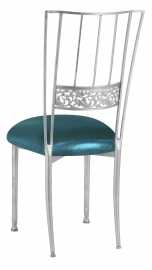 Silver Bella Fleur with Metallic Teal Cushion