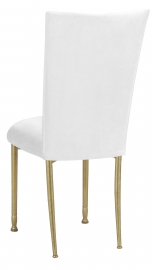 White Suede Chair Cover and Cushion on Gold Legs
