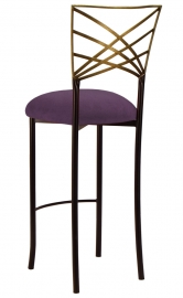 Two Tone Gold Fanfare Barstool with Lilac Suede Cushion
