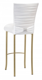 Chloe White Stretch Knit Barstool Cover with Rhinestone Accent Band and Cushion on Gold Legs