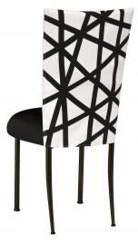 FWY Chair Cover with Black Suede Cushion on Brown Legs