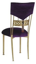 Eggplant Velvet Hat and Tassel Chair Cover with Cushion on Gold Bella Braid