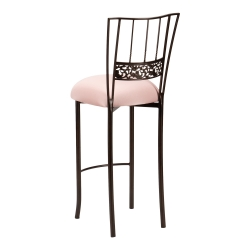 Bella Fleur Mahogany Barstool with Blush Stretch Knit Cushion