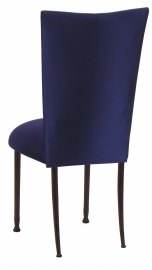 Navy Stretch Knit Chair Cover with Cushion on Mahogany Legs
