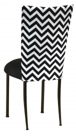 Chevron Chair Cover with Black Stretch Knit Cushion on Brown Legs