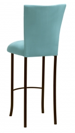 Turquoise Suede Barstool Cover and Cushion on Brown Legs