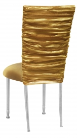 Gold Demure Chair Cover with Gold Stretch Knit Cushion on Silver Legs