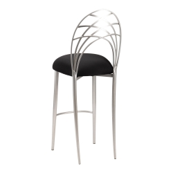 Silver Piazza Barstool with Black Stretch Knit Cushion