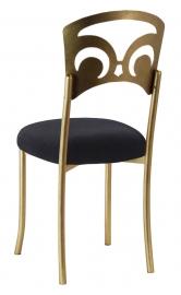 Gold Fleur de Lis with Black Velvet Cushion