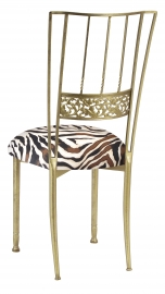 Gold Bella Fleur with Zebra Stretch Knit Cushion