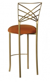 Gold Fanfare Barstool with Copper Stretch Knit Cushion