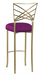 Gold Fanfare Barstool with Orchid Taffeta Boxed Cushion