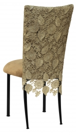 Burlap Chantilly 3/4 Chair Cover with Camel Suede Cushion on Black Legs