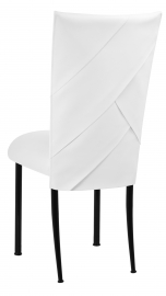 White Tiered Leatherette Chair Cover and Cushion on Black Legs