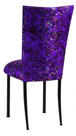 Purple Paint Splatter Chair Cover and Cushion on Black Legs