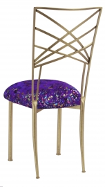 Gold Fanfare with Purple Paint Splatter Cushion