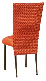 Orange Taffeta Scales 3/4 Chair Cover with Orange Taffeta Boxed Cushion on Brown Legs