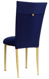 Navy Blue Chair Cover with Button and Cushion on Gold legs