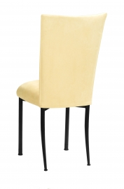 Buttercup Suede Chair Cover and Cushion on Black Legs