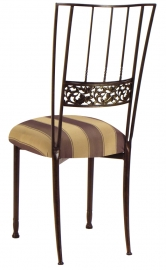 Mahogany Bella Fleur with Gold and Brown Stripe Cushion