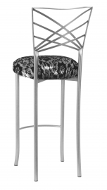 Silver Fanfare Barstool with Black Camisole Lace over Silver Metallic Stretch Knit Cushion