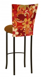 Groovy Suede Barstool Cover with Copper Suede Cushion on Brown Legs