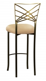 Two Tone Fanfare Barstool with Toffee Stretch Knit Cushion