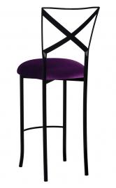 Blak. Barstool with Deep Purple Velvet Cushion