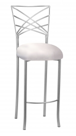 Silver Fanfare Barstool with Platinum Satin Cushion