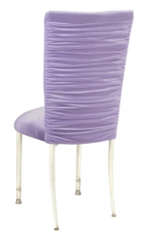 Chloe Lavender Velvet Chair Cover and Cushion on Ivory Legs