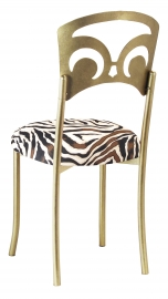 Gold Fleur de Lis with Zebra Stretch Knit Cushion