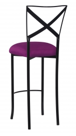 Blak. Barstool with Orchid Taffeta Boxed Cushion