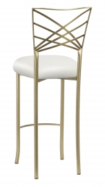 Gold Fanfare Barstool with White Leatherette Cushion