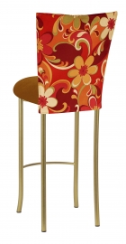 Groovy Suede Barstool Cover with Copper Suede Cushion on Gold Legs