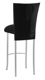 Black Patent Barstool Cover with Black Velvet Cushion on Silver Legs