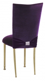Deep Purple Velvet Chair Cover with Rhinestone Accent and Cushion on Gold Legs