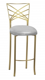 Gold Fanfare Barstool with Silver Metallic Knit Cushion