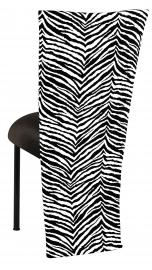 Black and White Zebra Jacket with Black Velvet Cushion on Black Legs