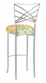 Silver Fanfare Barstool with Floral Bloom Boxed Cushion