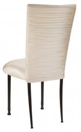 Chloe Ivory Stretch Knit Chair Cover and Cushion on Mahogany Legs