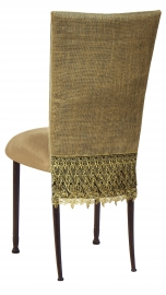Burlap Fancy 3/4 Chair Cover with Camel Suede Cushion on Mahogany Legs